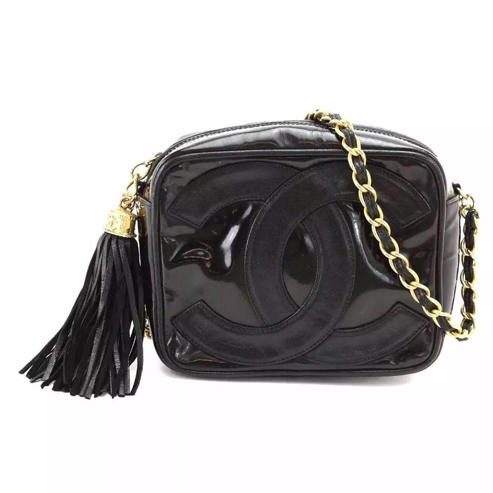 a96b898cc86749 Chanel Camera Vintage Tassel Cc Black Patent Leather Lambskin Cross ...