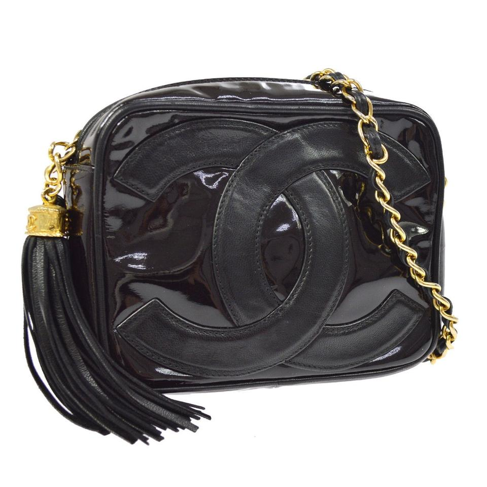 493094ee416e Chanel Camera Vintage Tassel Cc Black Patent Leather Lambskin Cross Body  Bag - Tradesy