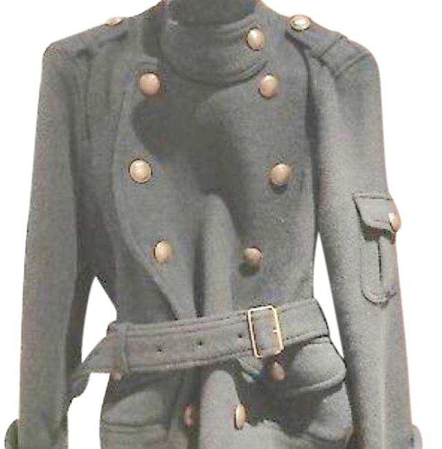Item - Gray Brit Wool Belted Jacket Size 4 (S)