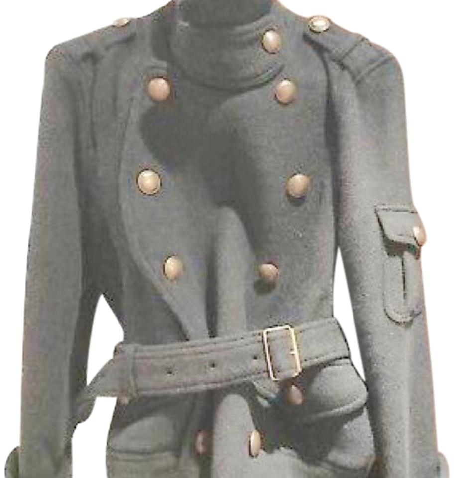 b0d3901e84890 Burberry London Gray Brit Wool Belted Jacket Size 4 (S) - Tradesy