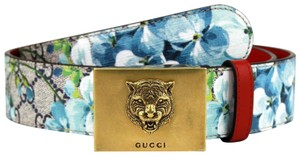 Gucci Blue Bloom Print Belt w/Gold Tiger Buckle w/Box 105/42 434559 8492