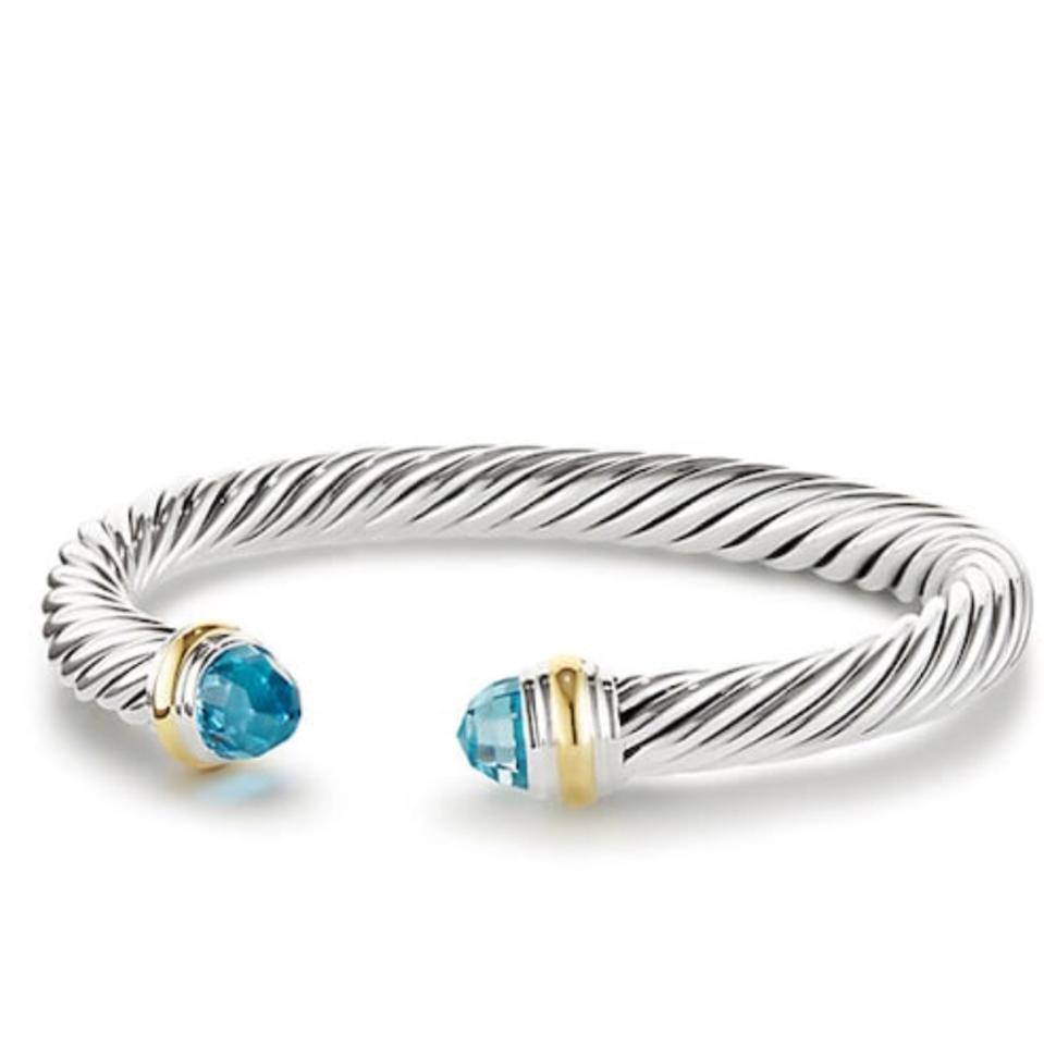 David yurman blue topaz 7mm cable bracelet tradesy for David yurman inspired bracelet cable