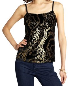 Alice + Olivia Lined Accent Zipper Adjustable Straps Top Black and Gold