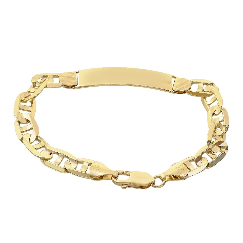 Avital Co Jewelry 14k Yellow Gold Gucci Link Chain Id Bar Bracelet Made In Italy