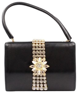 Dolce&Gabbana Leather Crystal Embellished Evening Applique Satchel in black