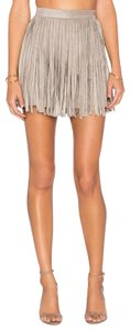 BB Dakota Fringe Suede Boho Festival Mini Skirt Taupe