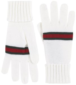 Gucci Gucci White 100% Wool Knit Web Stripe Gloves size XL