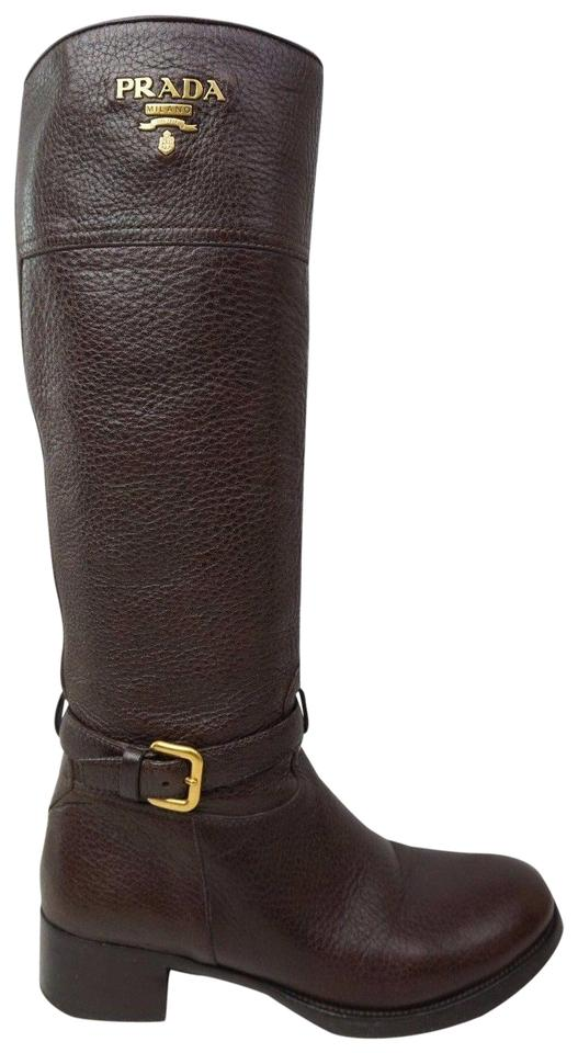 Prada Riding Brown Pebbled Leather Logo Riding Prada Women's Boots/Booties 826a2a