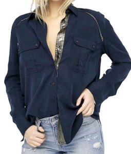 Free People Embellishents Soft Oversized Look Button Down Shirt Navy