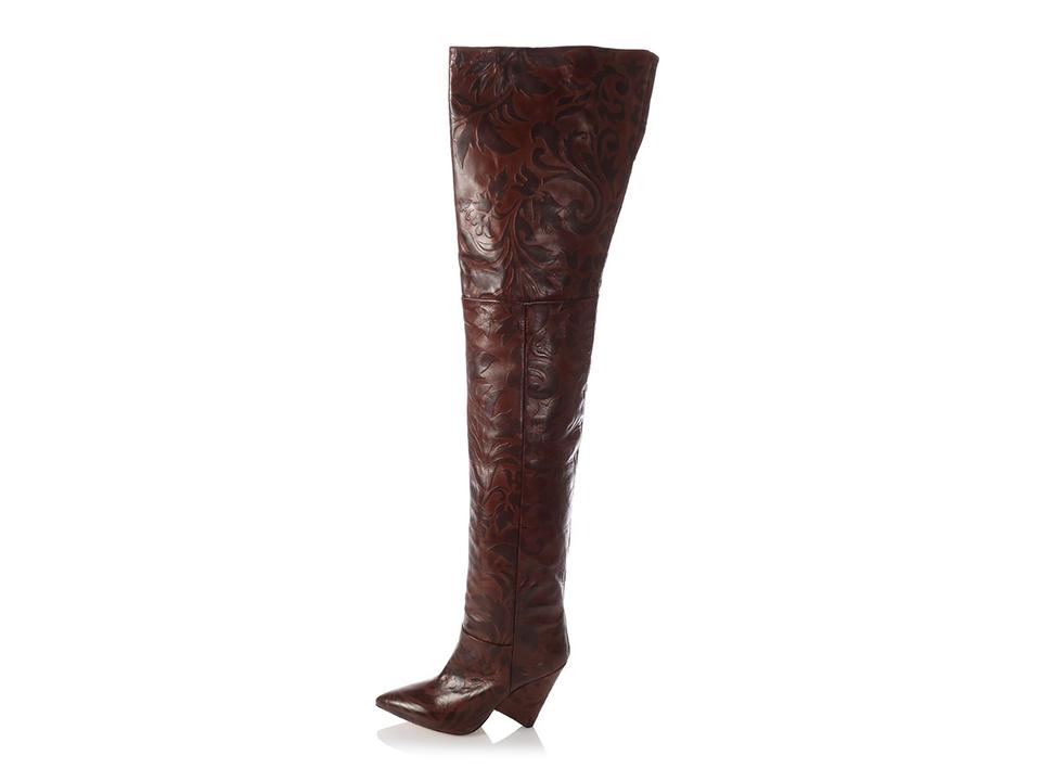 07ba4fcea27 Isabel Marant Floral Tall Distressed Leather Im.el1031.16 Brown Boots Image  0 ...