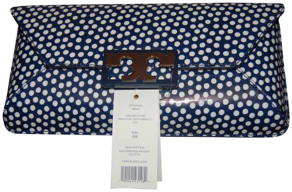a143317a4a6a Tory Burch Gigi Printed Navy Patent Leather Clutch - Tradesy
