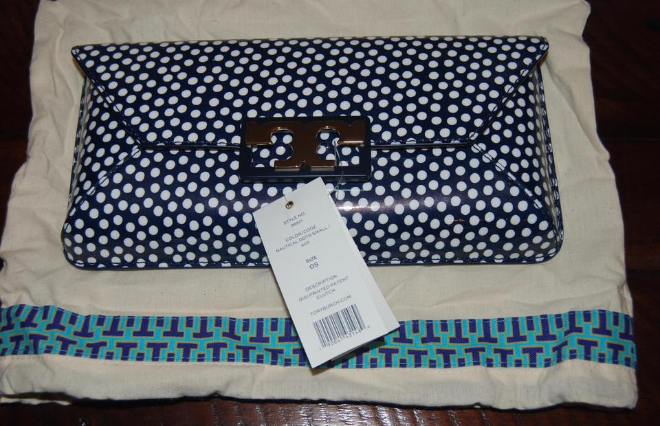 b28f770929f8 Tory Burch Patent Leather Polka Dot Nautical Navy Clutch Image 7. 12345678