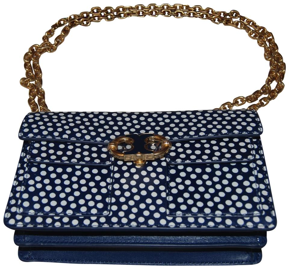 4252a0a2527 Tory Burch Gemini Link Printed Chain Nautical Dots Leather Shoulder ...