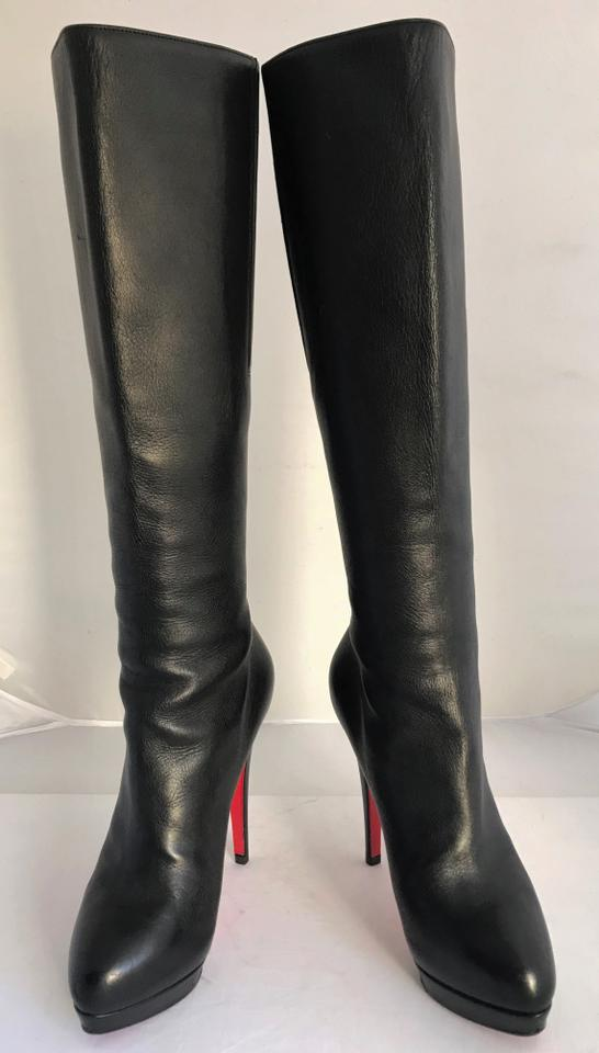 9a732793f53 Christian Louboutin Black Alti Botte Leather Platform Knee High Heel Zip  Lady Red Sole Ital Boots Booties Size EU 36 (Approx. US 6) Regular (M