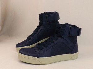 b63f4104c8692 Gucci Blue Navy Leather Gg Guccissima Hi Top Sneakers 7 8  409766 Shoes