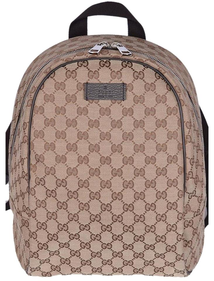 98ee22253e9 Gucci Gg Guccissima Rucksack Travel Beige Brown Canvas Backpack ...