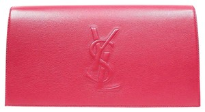 Saint Laurent Ysl Luxury Leather Large Flap Oversized Red Clutch