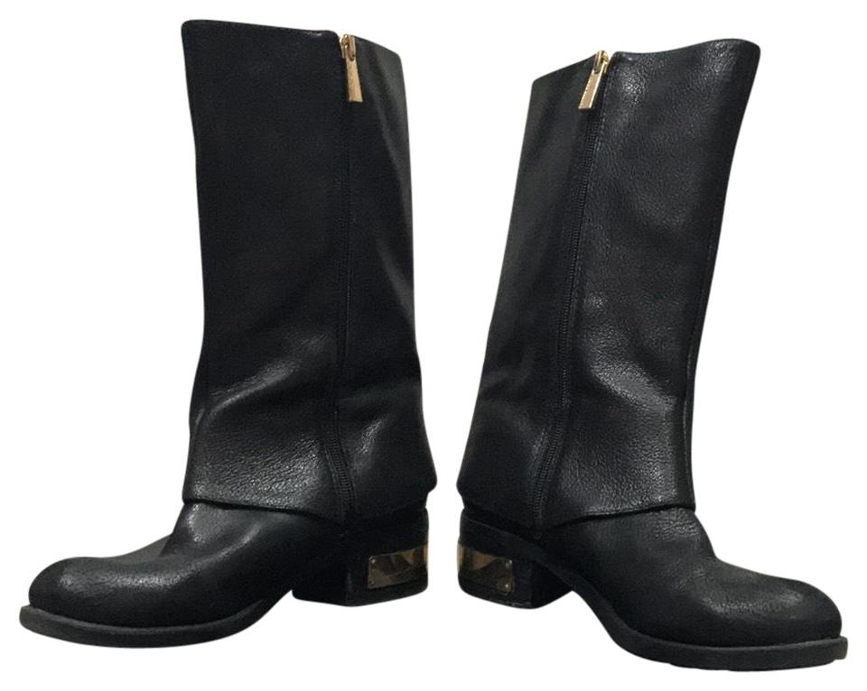 457712a73eb Vince Camuto Black Moto Winivive Gold Zipper Boots Booties Size US 7 ...