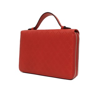 Gucci Leather Document Holder Wallet Red Clutch