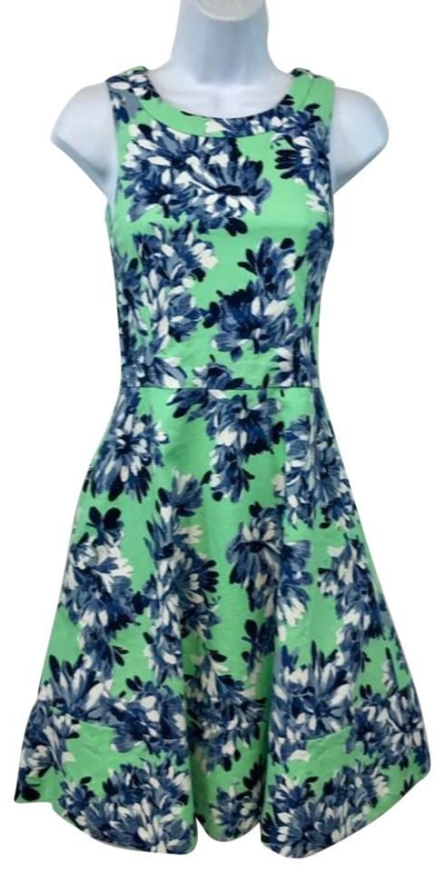 6db76ddad52 J.Crew Green Blue White Floral Print Cotton Short Casual Dress Size ...