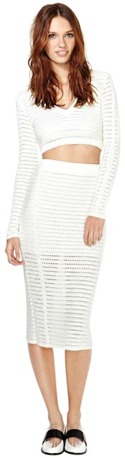 Item - Ivory Marcelle Sweater Knit Crop Top + Midi Skirt Mid-length Night Out Dress Size 6 (S)