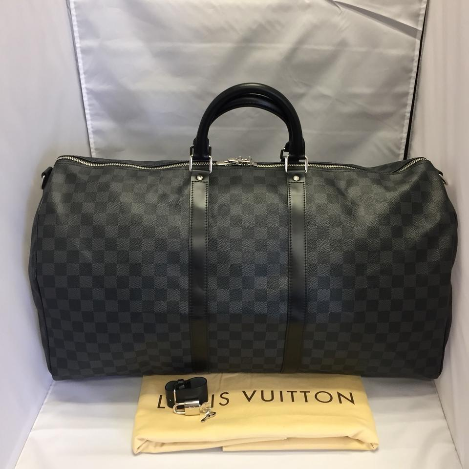 d7e2d53eee1 Louis Vuitton Keepall Bandouliere 55 Damier Graphite- Gray with Strap  Leather Weekend/Travel Bag