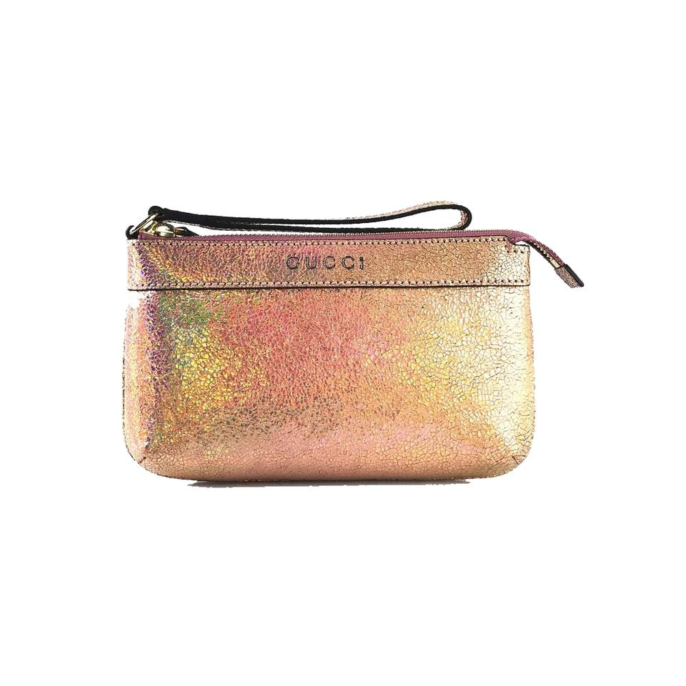 573472e9d19f Gucci Leather Textured Holographic Pink Wristlet - Tradesy