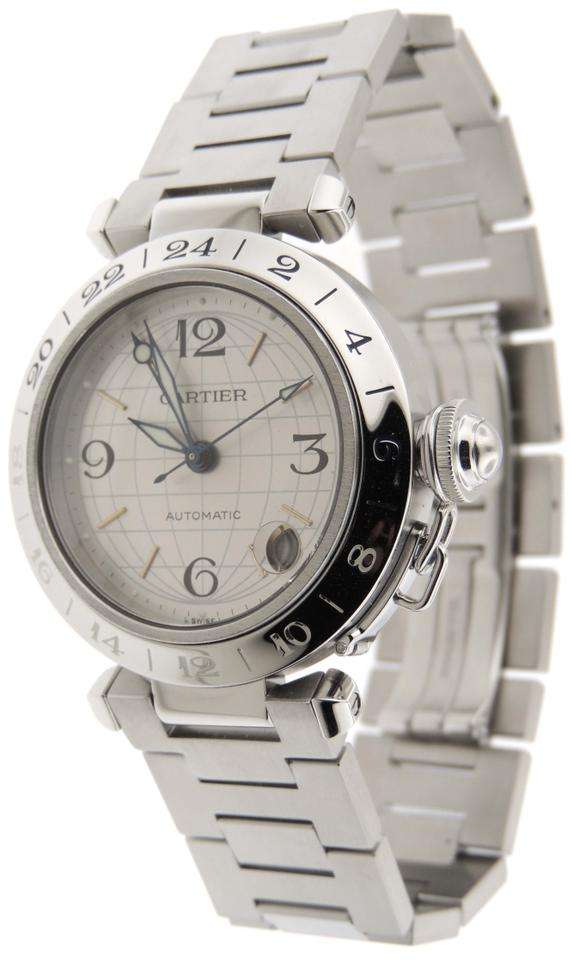 25e622b872df7 Cartier Cartier Pasha C GMT Globe Stainless Steel Automatic 35mm Date Watch  Image 0 ...
