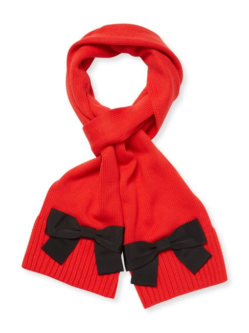 Item - Red Orange New Knitted Knit Large Bow Long Gift Scarf/Wrap