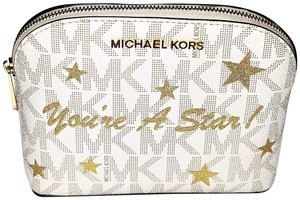 Michael Kors New Cindy Travel Pouch & Cosmetic Gold Star Illustration Bag MSRP $108