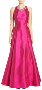 Eliza J Crystals Jewel Halter Neck Open Back Cutaway Special Occasion Dress
