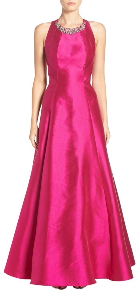 Eliza J Fuchsia Embellished Mikado Fit & Flare Gown Long Formal ...