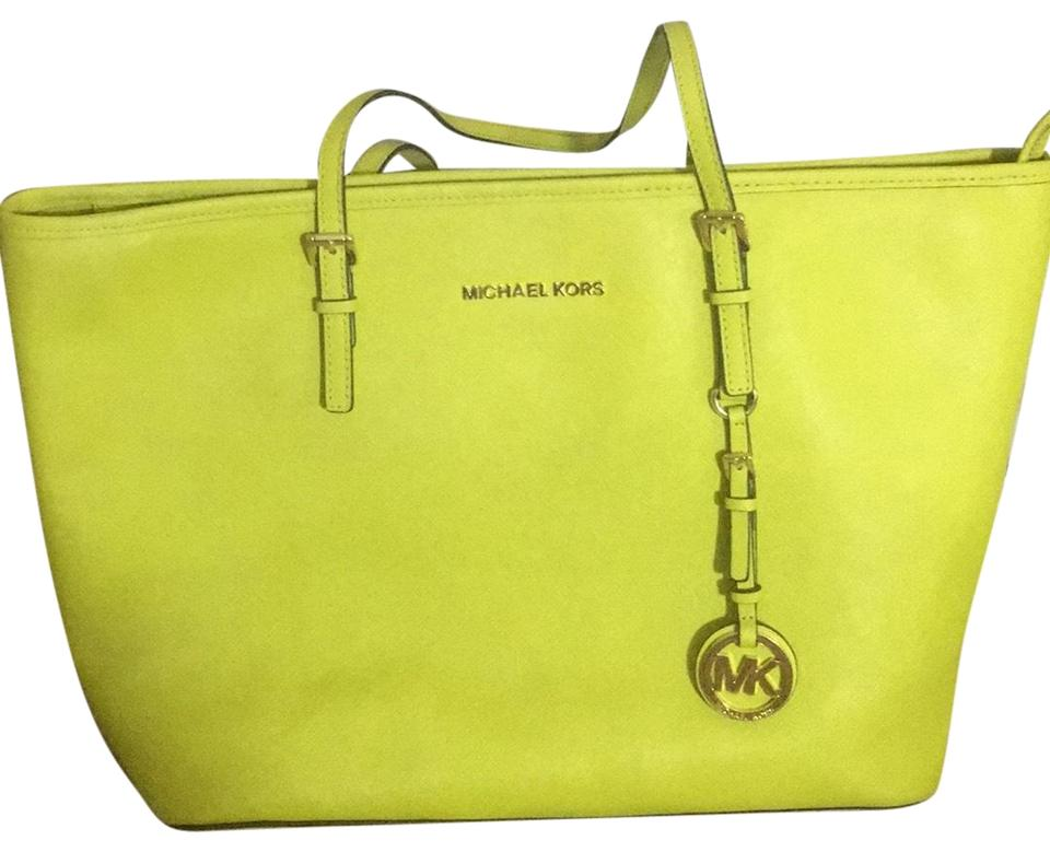 6cb6a017d8 Michael Kors Jet Set Travel Medium Saffiano Top-zip Lime Green Leather Tote
