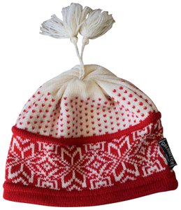 Obermeyer knit wool. Obermeyer Cream and Red Knit Wool Hat 568f75646b8