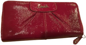 Coach Coach zip around wallet in gorgeous red patent leather jacket for