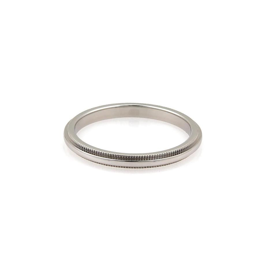 Tiffany Co Platinum 2mm Wide Double Milgrain Band Size 7 5 Ring