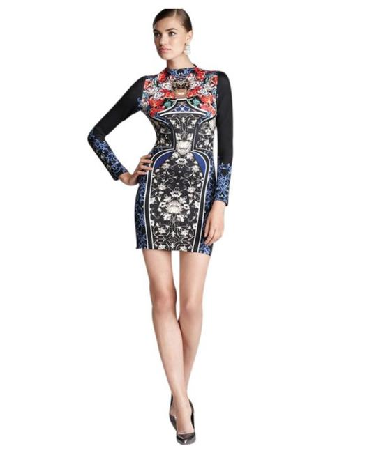Item - Multi-color Scuba Royal Egg Vase Neoprene Bodycon Stretch Small S Mid-length Night Out Dress Size 4 (S)