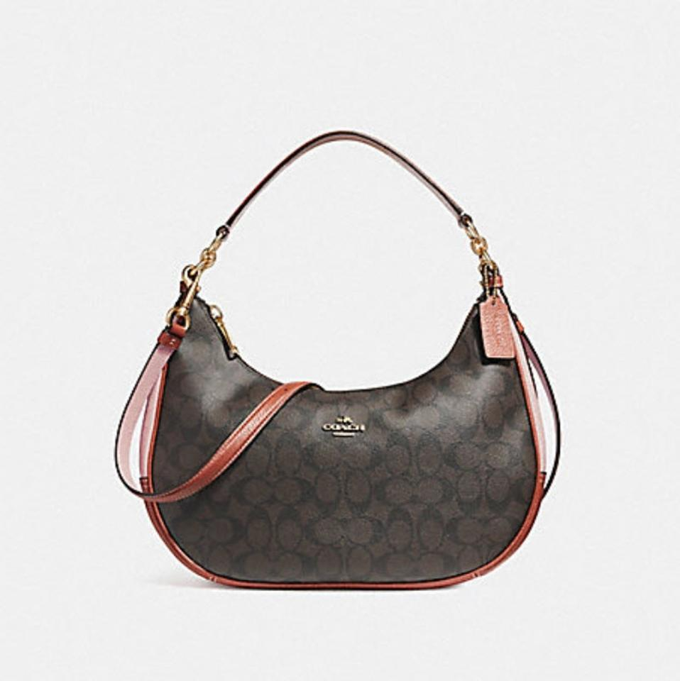 276614016b Coach Harley In Colorblock Signature 38250 25897 Brown/Blush Terracotta  Leather Hobo Bag