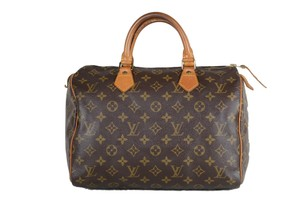 Louis Vuitton Speedy Leather Handbag Tote in Brown