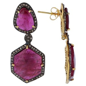 Silver 23.00ct Ruby and 1.05ct Diamond Earrings