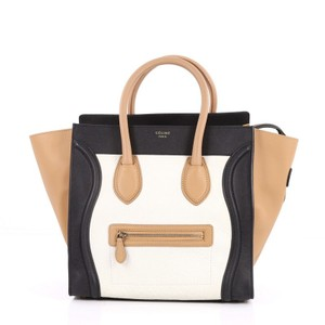 Céline Leather Tote in white, black and beige