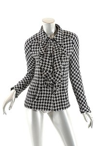 Chanel Houndstooth Woven Ruffle Black & White Jacket