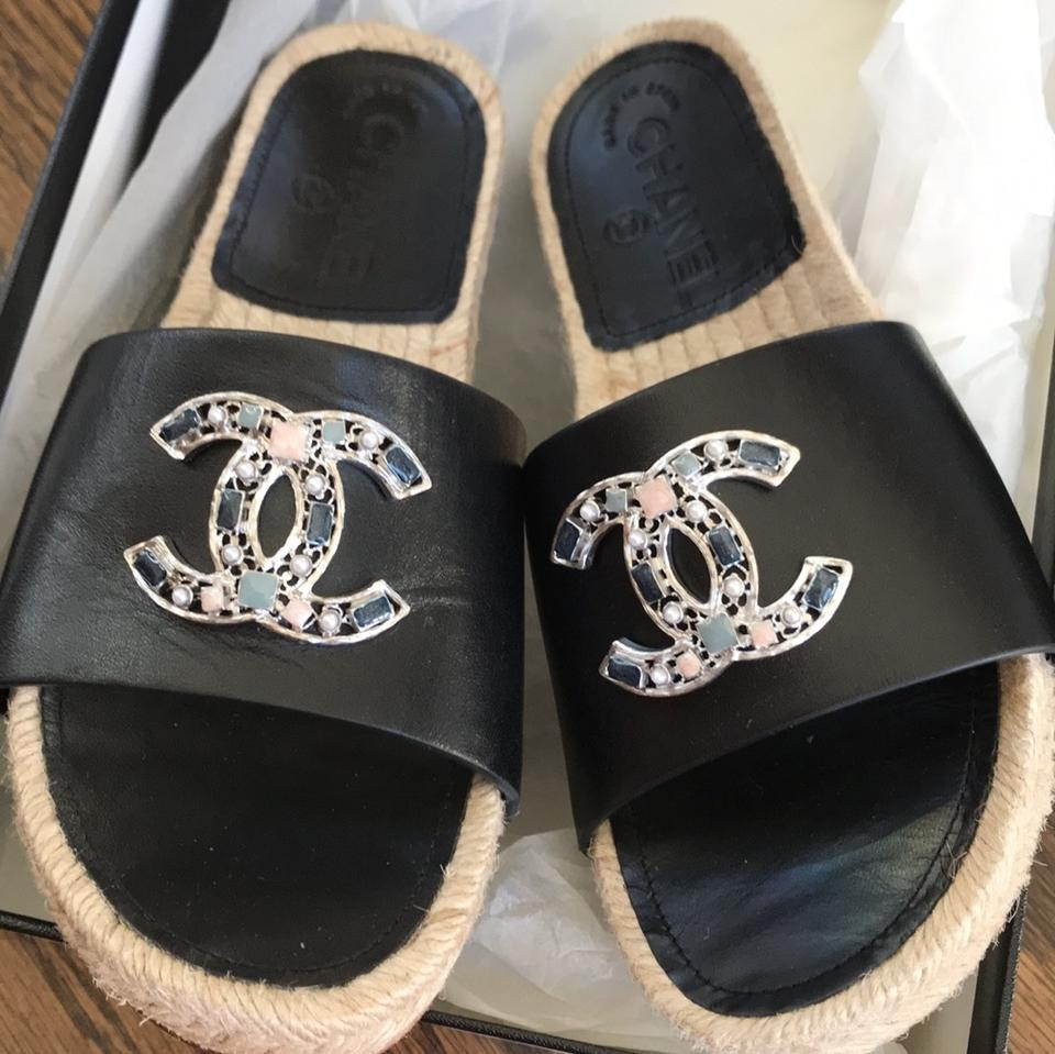 3fbf08342517 Chanel Black Espadrilles Slides Leather Silver Flats Sandals Size EU ...