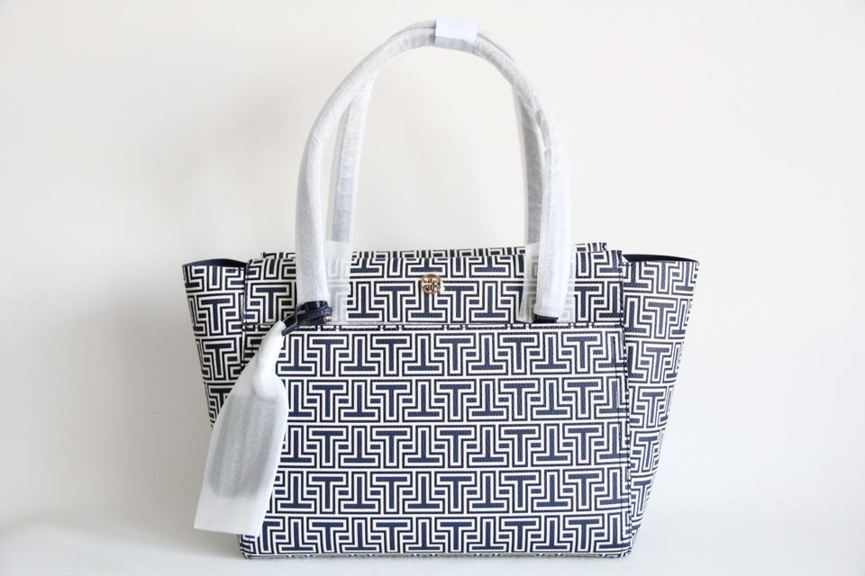 5b0b09c54c7d Tory Burch Parker T Geo-t Small Navy Pvc and Leather Tote - Tradesy
