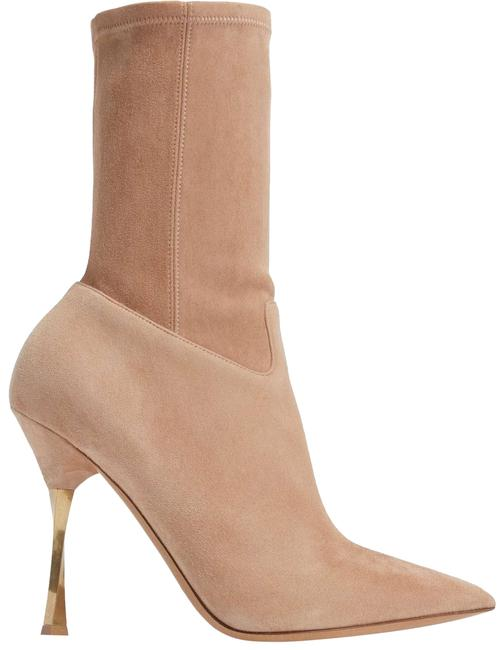 Valentino Beige Suede Twisted Gold Heel Stretch Ankle Boots/Booties Size EU 40.5 (Approx. US 10.5) Regular (M, B) Valentino Beige Suede Twisted Gold Heel Stretch Ankle Boots/Booties Size EU 40.5 (Approx. US 10.5) Regular (M, B) Image 1