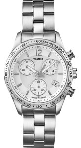 Timex T2P059 Chronograph Women's Silver Steel Band With White Analog Dial