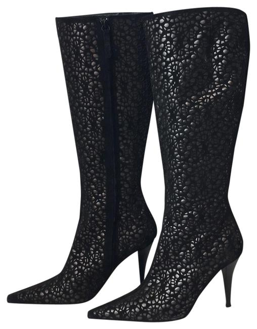 Item - Black / Gun Metal Gray And Laser Cut Suede and Leather Boots/Booties Size US 7.5 Regular (M, B)