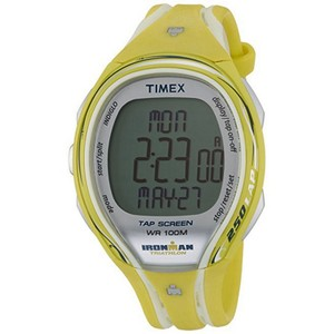 Timex T5K789 Sleek Lap Unisex Yellow Rubber Band With Silver Digital Dial