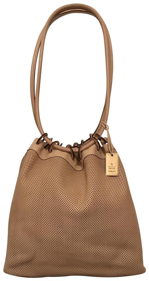5bc6468575dcb4 Gucci Laser Cut G 90644 Beige Leather Tote - Tradesy