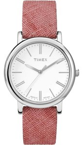 Timex TW2P63600 Linen Women's Red Leather Band With White Analog Dial